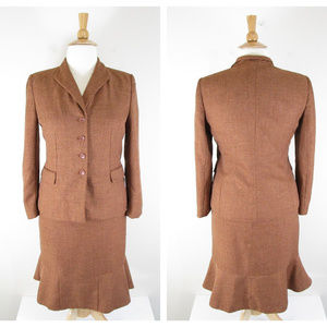 Collections Le Suit Rust Brown Skirt Suit Career